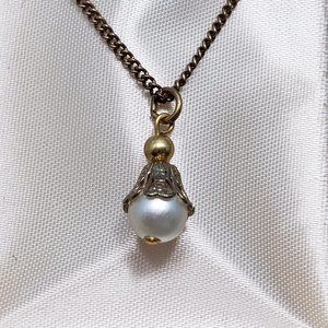Vintage formula 21 plated acrylic pearl necklace
